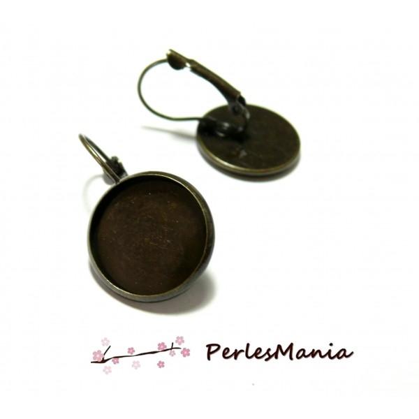 HC124414 PAX 10 Supports de boucle d'oreille Dormeuse 14mm Laiton couleur Bronze - Photo n°1