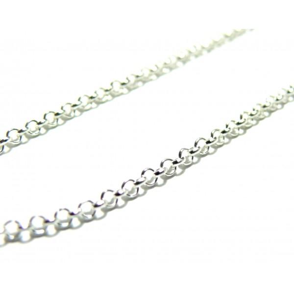 PCHS068 PAX 5m chaine Rollo metal couleur Argent Vif maille 3 par 1mm pour création de colliers - Photo n°1