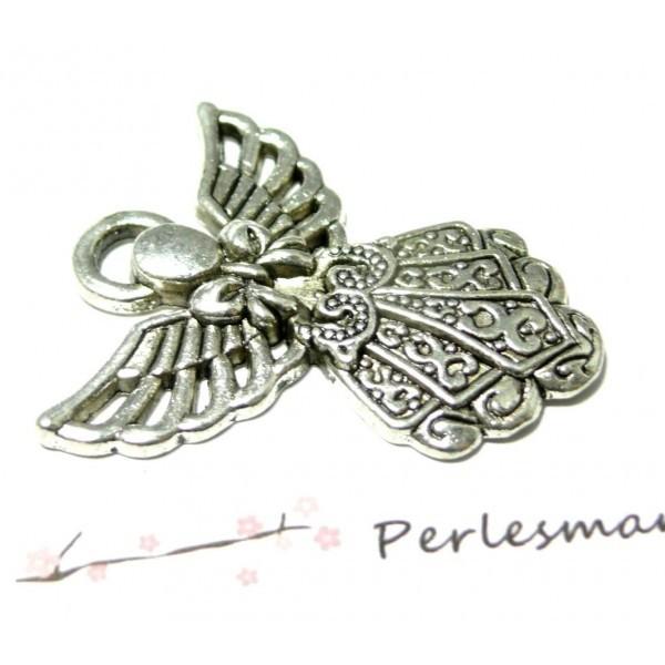 Lot de 5 pendentifs Grand Ange métal coloris Argent Antique 2B5271 - Photo n°1