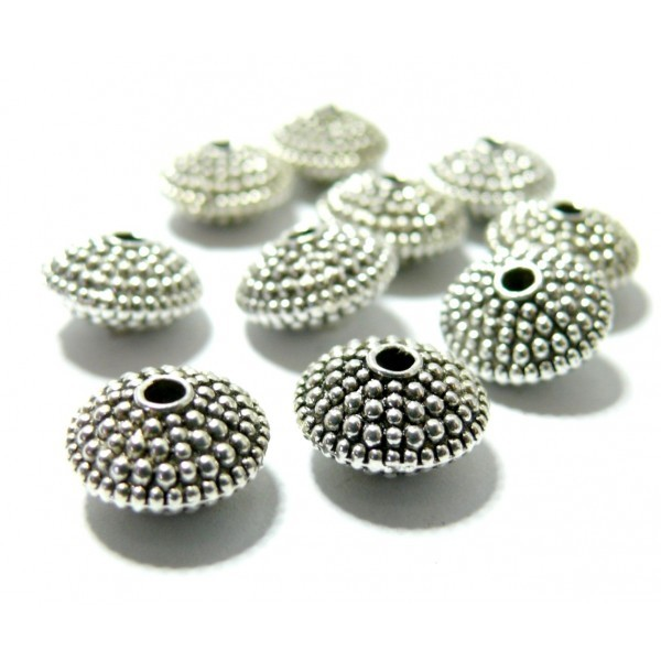 Lot de 20 perles intercalaires Rondelle avec picot vieil Métal coloris Argent Antique REF 43 - Photo n°1