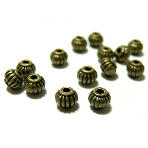 PS1164545 PAX 50 perles intercalaire Potiron 4 par 5mm métal couleur BRONZE - Photo n°1