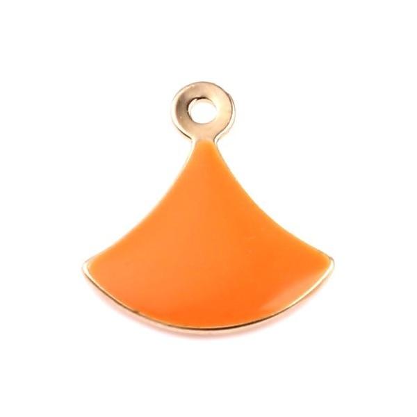 PS11669599 PAX 4 sequins émaillés Eventail 14 par 13mm Orange sur une base en cuivre doré - Photo n°1
