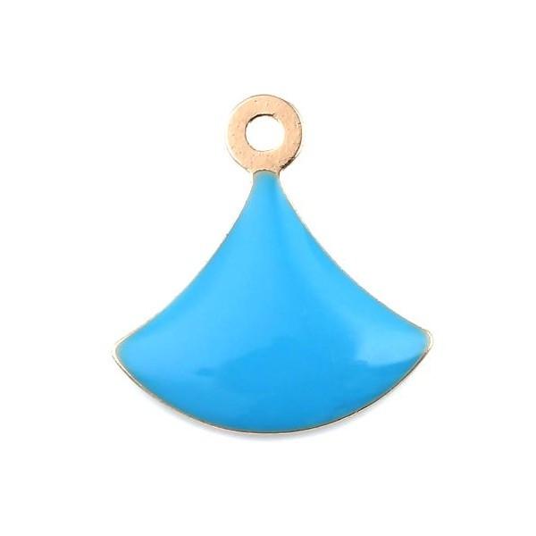 PS11669595 PAX 4 sequins émaillés Eventail 14 par 13mm Bleu Turquoise sur une base en cuivre doré - Photo n°1