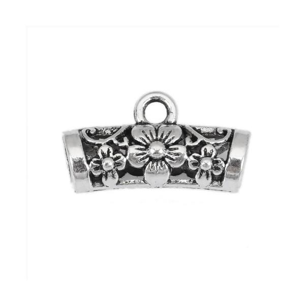 PS110217057 PAX 20 pendentifs Bélières Tube Fleurs 20 par 11mm metal Argent Antique - Photo n°1