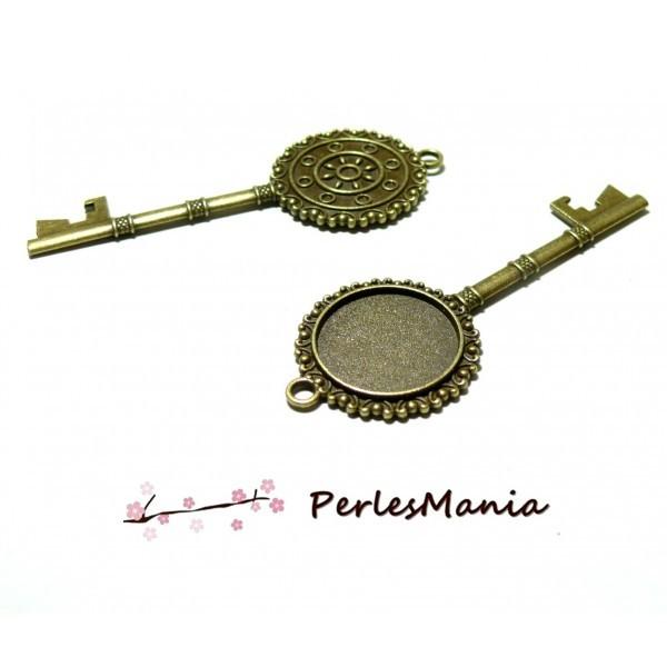 Lot de 5 supports de Pendentifs CLEFS RETRO 20mm ref 137 métal coloris Bronze - Photo n°1