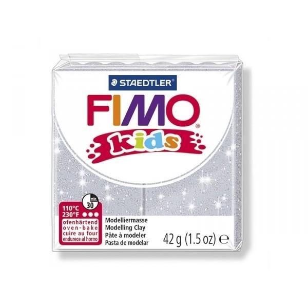 Pain Pate Fimo Kids Gris Paillette 42gr 8030-812 MODELAGE - Photo n°1