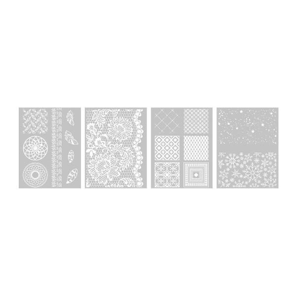 Lot de 4 Pochoirs, Silk screen DECO pour Pate Fimo, Pate Polymere, Cernit, Sculpey Graine créative - Photo n°1