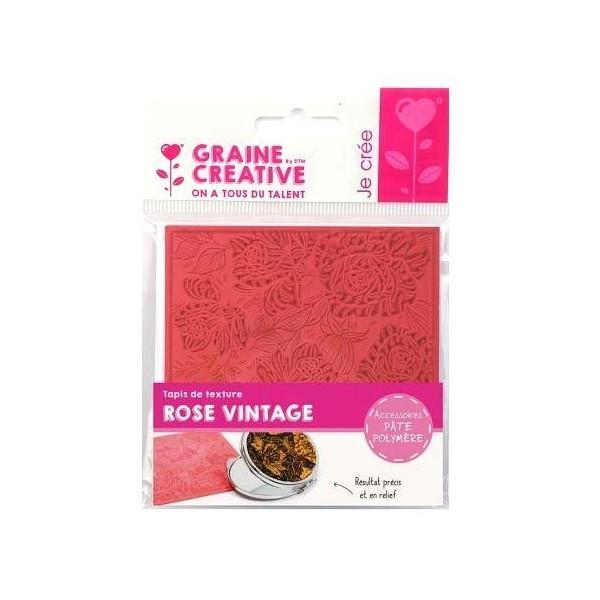 Tapis de Texture Rose Vintage 9cm pour Pate Fimo, Sculpey Cernit Graine Créative 265408 - Photo n°1