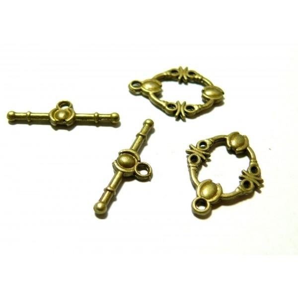 P2636 Lot de 10 sets fermoirs T Toggle Travaillés métal coloris Bronze - Photo n°1