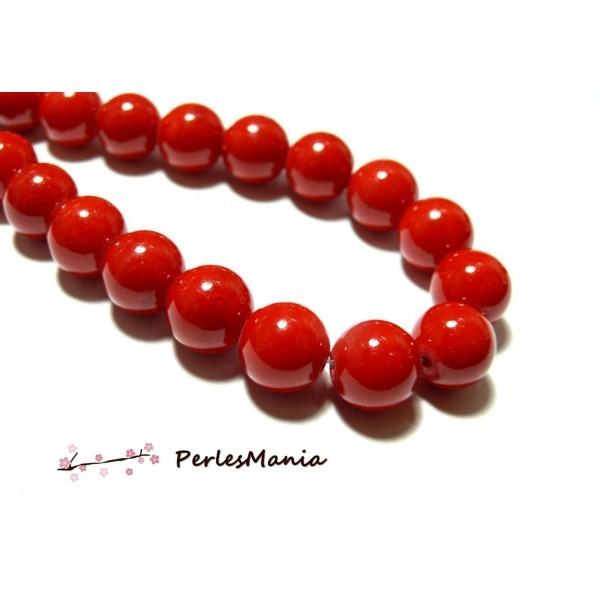 Lot de 6 perles Rondes Jade teintée 14mm Rouge Vif PXS31 - Photo n°1