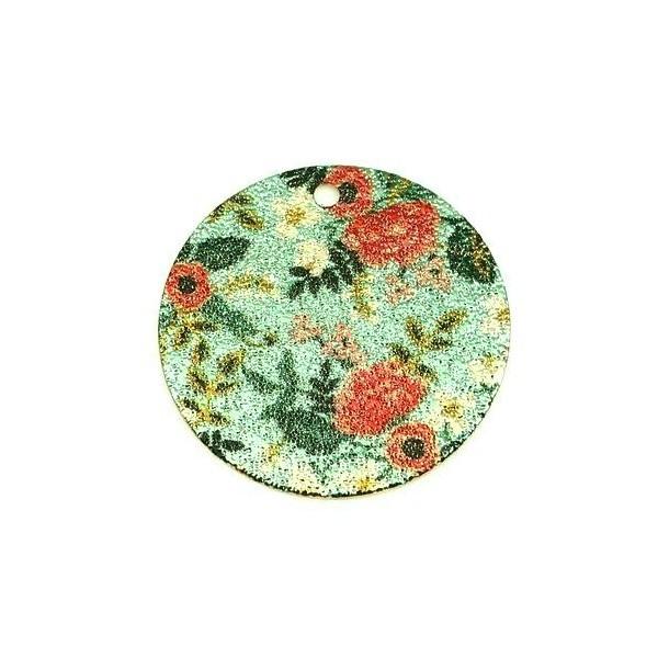 PS110247979 PAX 5 pendentifs breloques stardust Ronde 20mm Fleurs Cuivre Coloris Doré - Photo n°1