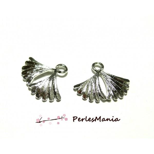 10 breloques argent platine Eventail Feuille Plume art deco OB15452 - Photo n°1