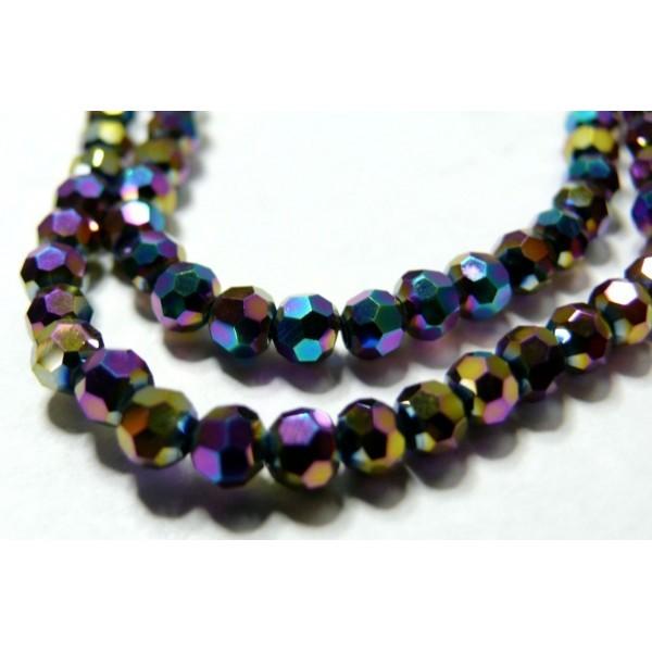 10 perles de cristal facetté multicolore ronde 8 par 10mm 2J1609 - Photo n°1