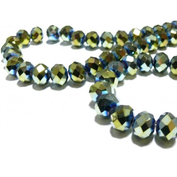 10 perles facettées rondelles vert 8 par 10mm ref 2J1416 - Photo n°1
