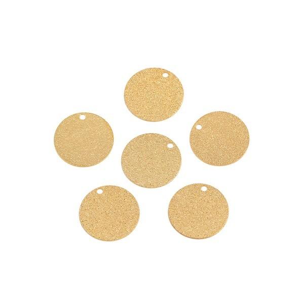 PS110111024 PAX 10 Pendentifs Medaille Stardust Effet Pailllettes Rondes 15mm cuivre coloris Doré - Photo n°1