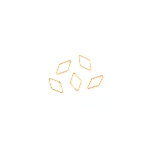 PS110113606H PAX 10 pendentifs connecteur fermé forme Losange 17mm Cuivre couleur Doré 18KT - Photo n°1