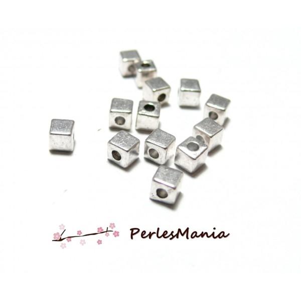 Lot de 50 perles intercalaire petits cube 4mm métal couleur Argent Antique P103390 - Photo n°1