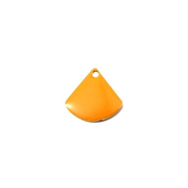 PS110140779 PAX 5 sequins médaillons émaillés Eventail 13 par 12mm Orange - Photo n°1