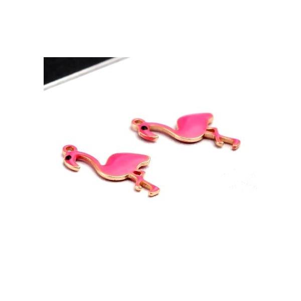 PS11669605 PAX 2 Pendentifs style émaillés Flamingo, Flamant Rose 14 par 7mm Rose - Photo n°1