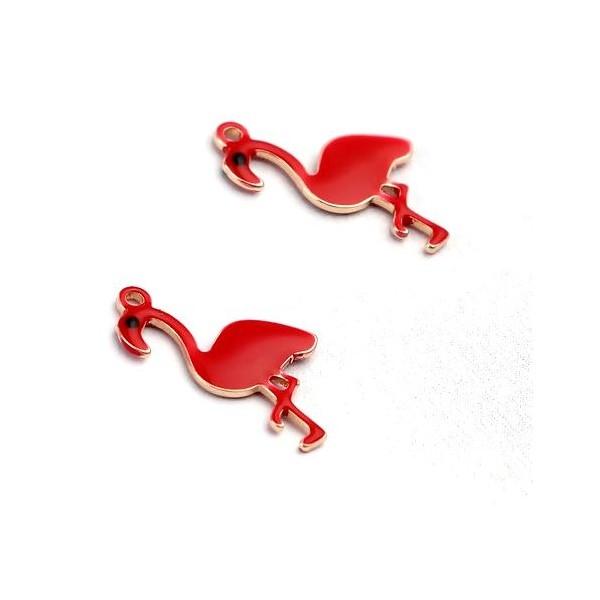 PS11669602 PAX 2 Pendentifs style émaillés Flamingo, Flamant Rose 14 par 7mm Rouge - Photo n°1