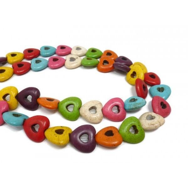 Lot 1 fil d'environ 22 Perles intercalaires Coeur Ajouré 20mm HOWLITE, Turquoise Reconstituées MULT - Photo n°1