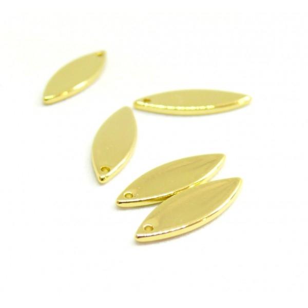H1133172 PAX de 5 pendentifs Marquise 16 par 5mm Laiton Doré 18KT - Photo n°1