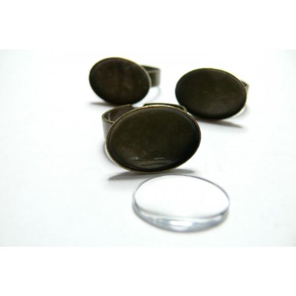 Lot de 20 pieces: 10 supports de bagues Ovale Horizontale qualité extra 13 par 18 mm coloris Bronze - Photo n°1