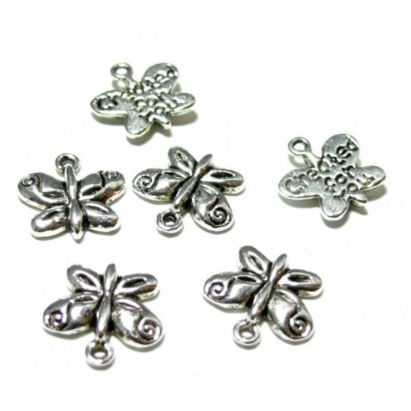 Lot de 20 pendentifs, breloques Petits Papillons CREATE FOR YOU métal coloris Argent Antique ZN1739 - Photo n°1