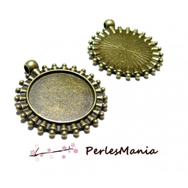 Lot de 2 pendentifs ARTY ART DECO métal coloris Bronze 25mm ref 143 - Photo n°1