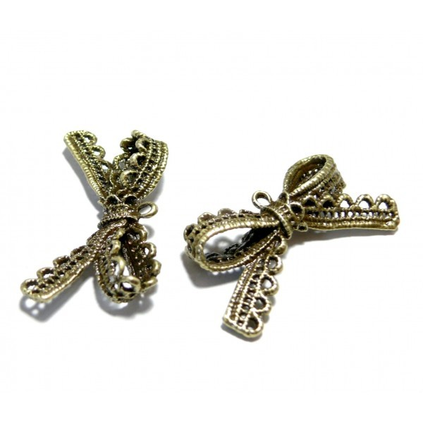 Lot de 4 pendentifs magnifique noeuds dentelle vintage métal coloris Bronze ref185 - Photo n°1