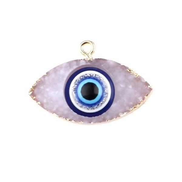 PS11673203 PAX 1 Pendentif Oeil de protection Résine style émaillés 3 par 2cm coloris Blanc et Doré - Photo n°1