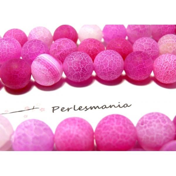 H589 1 fil de 64 perles rondes Agate craquelé 6 mm Effet Givre Rose Fuschia couleur 10 - Photo n°1
