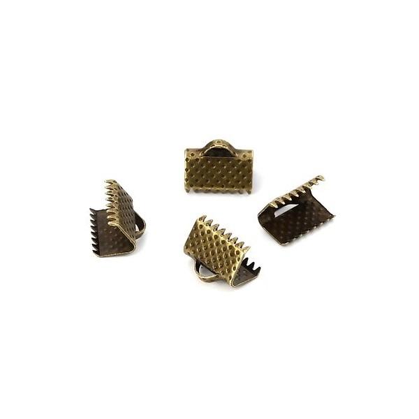 PS110112660 PAX 50 Griffes Pince, Attache Ruban, embouts, serre fils 10mm métal coloris BRONZE - Photo n°1