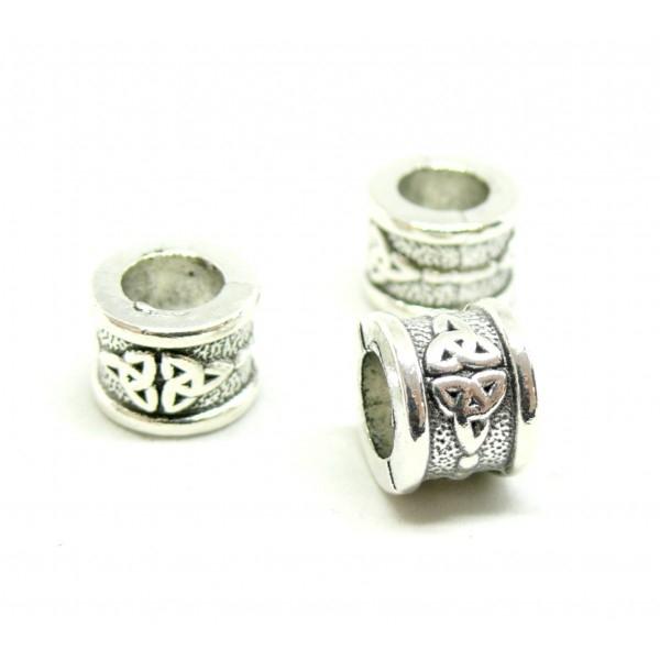 PS1140594H PAX 10 perles intercalaires Rondelles Noeuds Celtique 11 par 8mm métal couleur Argent An - Photo n°1
