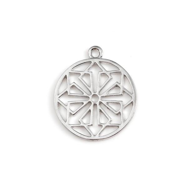 PS110122370 PAX 10 pendentifs breloque medaillon MANDALA, Fleurs de Vie couleur Argent Platine - Photo n°1