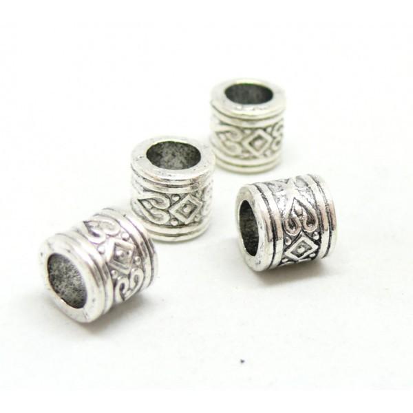 PS110146677 PAX 25 perles intercalaires Rondelles Coeur et Losange 8 par 7mm métal couleur Argent A - Photo n°1