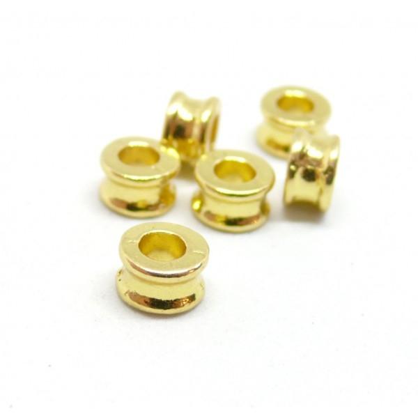 PS110096648 PAX 50 perles intercalaires Rondelles forme Osselet 6mm métal couleur Doré - Photo n°1