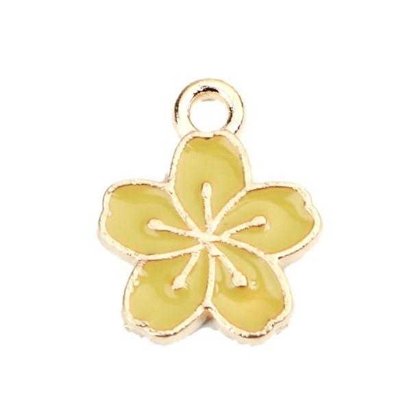 PS110228149 PAX 10 pendentifs émaillés Fleur de Sakura Jaune Vert 15mm métal doré - Photo n°1