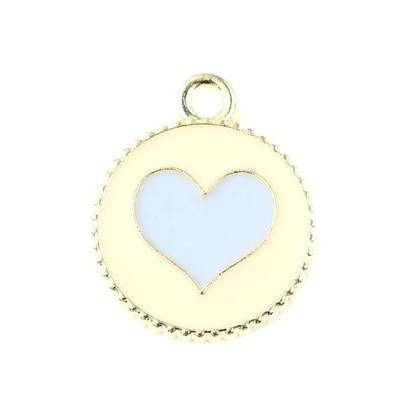 PS11674699 PAX 10 pendentifs émaillés Cercle et Coeur Bleu Ciel 16mm - Photo n°1