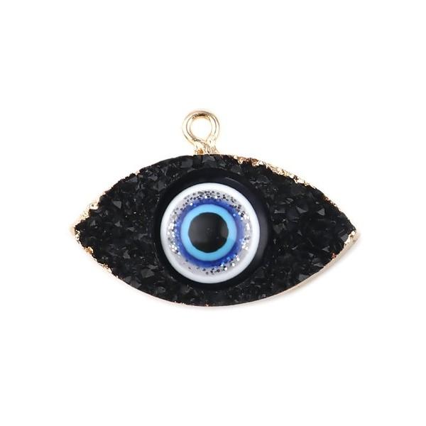 PS11673202 PAX 1 Pendentif Oeil de protection Résine style émaillés 3 par 2cm coloris Noir et Doré - Photo n°1