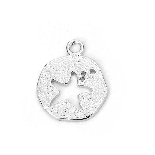 PS110112355 PAX 4 pendentifs breloque medaillon avec Etoile de Mer Cuivre couleur Argent Platine - Photo n°1