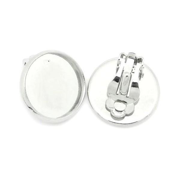 PS1122706 PAX 10 supports de Boucles d'oreille clips 12mm métal Coloris ARGENT VIF - Photo n°1