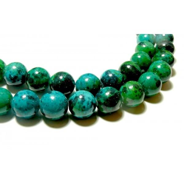 H094 Lot 1 fil d'environ 45 Perles rondes teintée Chrysocolle en 8 mm pour création de bijoux - Photo n°1