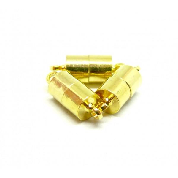 P027 PAX 5 Sets de Fermoirs Magnétique aimanté Cylindre 16mm couleur Doré - Photo n°1
