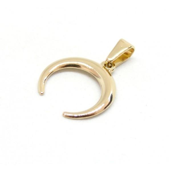 H111905G PAX 1 Pendentif Corne Boho Chic 19 mm en Acier Inoxydable Coloris Doré pour bijoux raffiné - Photo n°1