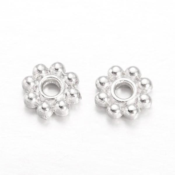 Perles métal intercalaires fleur 5 mm argenté x 50 - Photo n°2