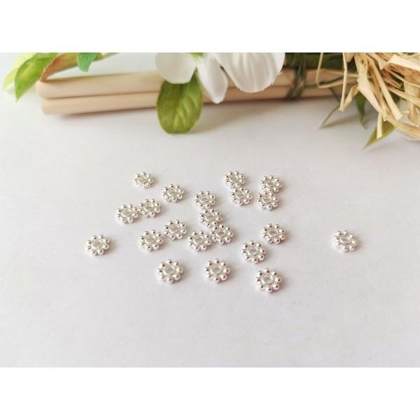Perles métal intercalaires fleur 5 mm argenté x 50 - Photo n°1