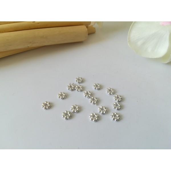 Perles métal intercalaires fleur 4 mm argenté x 50 - Photo n°1