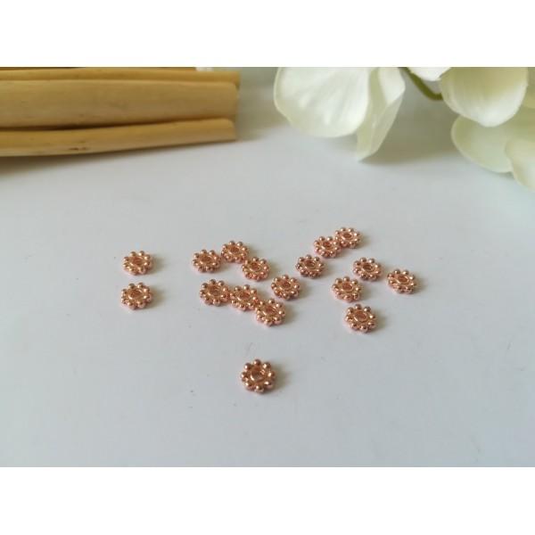 Perles métal intercalaires fleur 5 mm or rose x 50 - Photo n°2