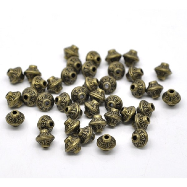 Perles métal toupies 6 mm bronze x 10 - Photo n°1